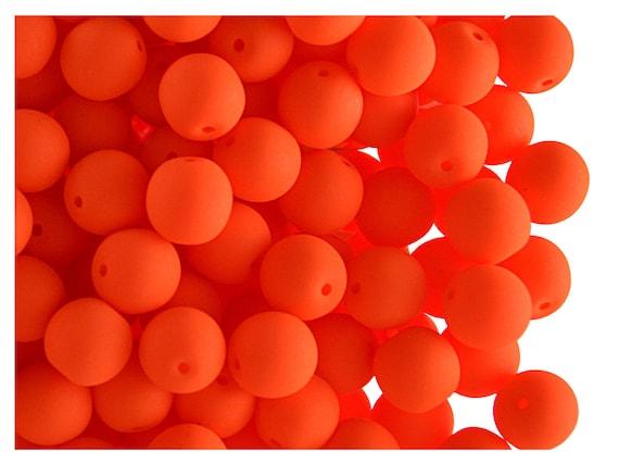 UV Active ORANGE 6 mm 50 pcs Czech Glass Round Pressed Beads ESTRELA NEON
