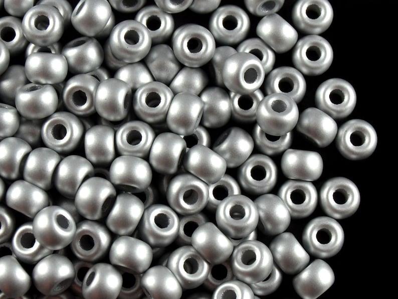 50pcs Czech Glass Pressed Pony Beads 5.5mm Terra Metallic Silver BG013 Large Hole