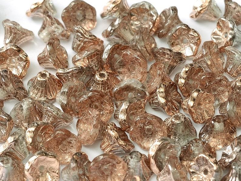 Czech Glass Crystal Capri Gold 7FLC012 50pcs Flower Cup Beads 7x5 mm