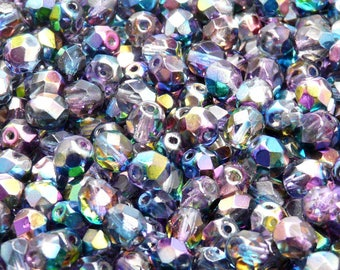 50pcs Czech Fire-Polished Faceted Glass Beads Round 6mm Magic Blue-Pink  (6FP013)