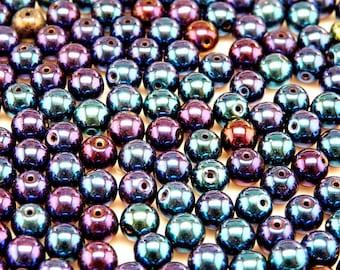 50pcs 6mm Czech Glass Pressed Beads Round Jet Blue Iris (6RP004)