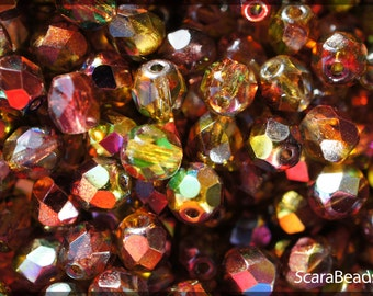 50pcs Czech Fire Polished Faceted Glass Beads Round 6mm Magic Red-Yellow (6FP009)