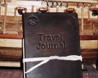 Italian handmade leather travel journal - engraved