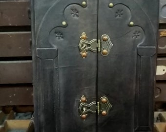 Grimoire, book of shadows - blank pages -post bound- magic door - spell book -