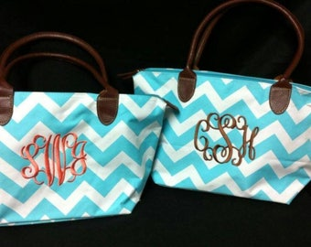 Personalized with Embroidery Monogrammed Turquoise Chevron Stripe Purse Tote Bag
