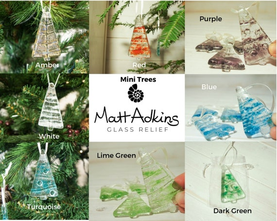 3 Mini Glass Trees Free Uk Shipping Choose 3 Out Of 8 Colours Christmas Decoration 8cm 3 High Glass Tree Christmas Tree Decorations