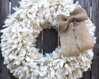 "36"" Burlap Rag Wreath, XL White Wreath, Rustic Wreath, Beach Wreath, Spring Wreath, Summer Wreath, Fall Wreath, Everyday Wreath"