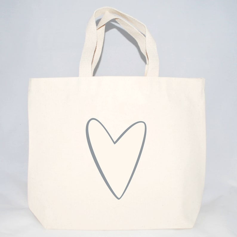 ac1cb6d71466 Set of 6 Heart Outline Wedding Welcome Tote Bags For Wedding Guests,  Wedding Welcome Totes, Screen Printed Tote Bags, Out of Town Guests