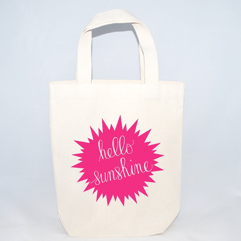 reusable totes Set of 6 Hello Sunshine Custom Screen Printed Canvas Bags For Wedding Guests Wedding Hotel Totes