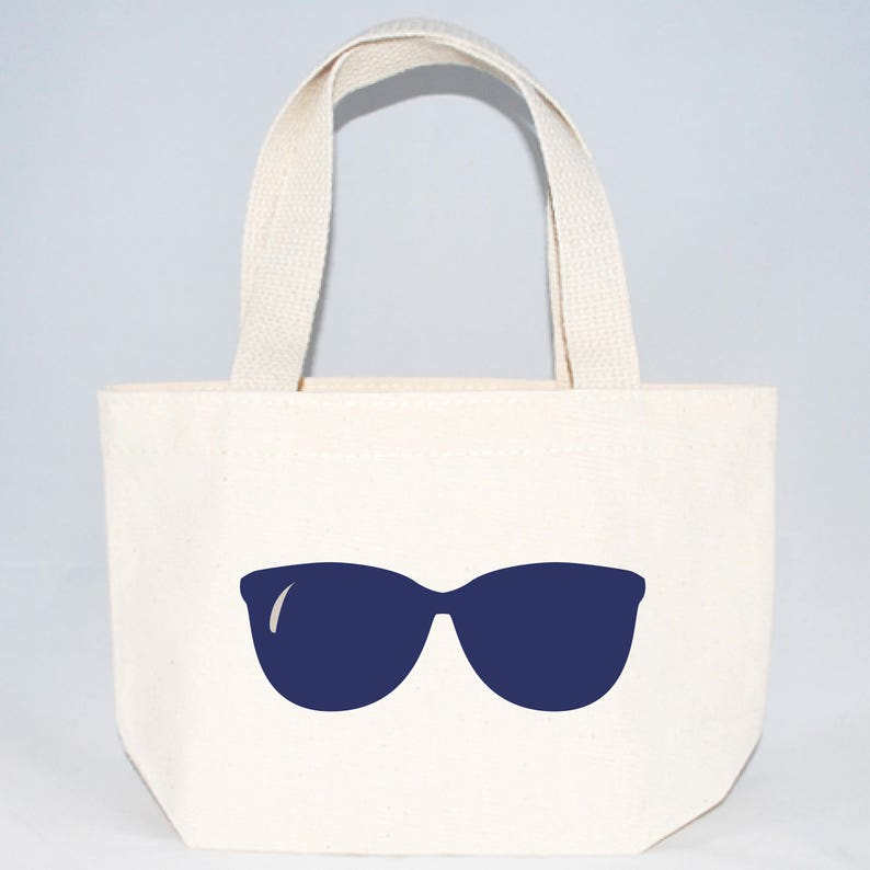 788acd71912b6 Set of 6 Sunglasses Custom Screen Printed Canvas Bags For Wedding Guests,  Bachelorette Parties, Beach Bags