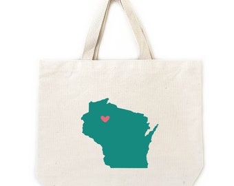 Wisconsin State Wedding Welcome Gift Bags, Shopping Tote Bags, Wedding Welcome Totes, Hotel Guest Bags, 6 unit min, Contact for Bulk Pricing