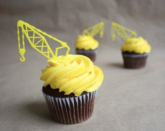 12 Construction Crane Cupcake Toppers (Acrylic)