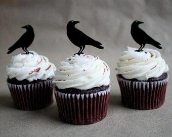 12 Raven Halloween Cupcake Toppers (Acrylic)