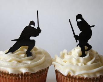 12 Ninja Cupcake Toppers (Acrylic)