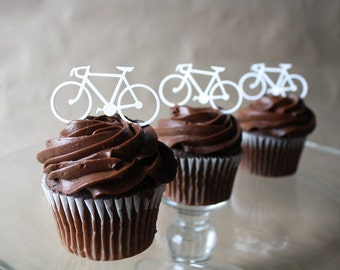 12 Road Bicycle Cupcake Toppers (Acrylic)