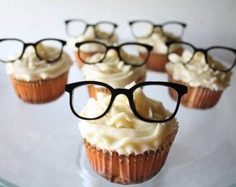 12 Vintage Geek Glasses Cupcake Toppers (Acrylic)