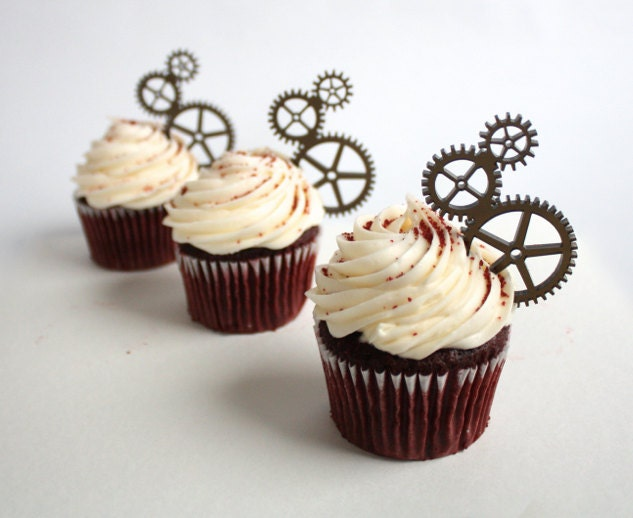 12 Steampunk Gear Cupcake Toppers Acrylic Etsy