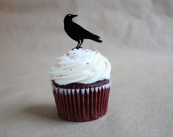 6 Raven Cupcake Toppers (Acrylic)