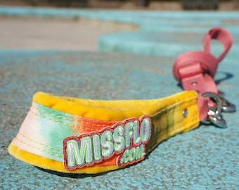 Handle and Adjustable Dog Leash. Handmade. MissFlo. Yellow Flamingo