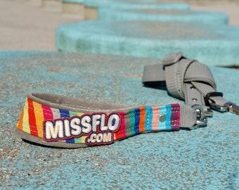 Premium Handle and Adjustable Dog Leash. Handmade. MissFlo. Rainbow.