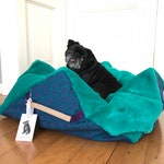 Special listing RUFFUS Dog Bed Pillow Comfy Cube (with inner pillow EPS beads) Turquoise/Sea green Fake fur and Deep purple. MissFlo
