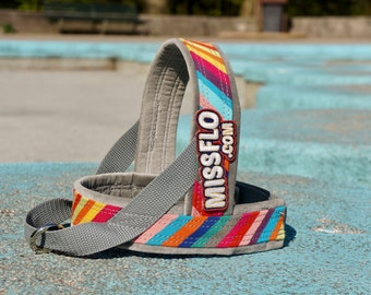 Premium Dog Harness MissFlo, Easy on easy off, handmade to measure, machine washable. Rainbow