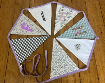 Personalized bunting, birthday party flag line, festive home decor, neutrals and lilac