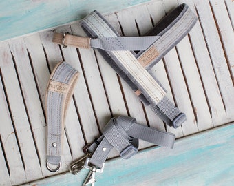 Limited Edition SET, Denim Dog Harness and Leash denim with Leather Details, MissFlo, Easy on/off, Washable, Handmade, made to measure.