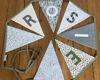 Personalized bunting, birthday party flag line, festive home decor, neutrals and green