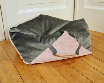 Dog Bed Pillow Comfy Cube Square Hexagon Velvet grey top (with inner pillow and filling EPS beads) MissFlo