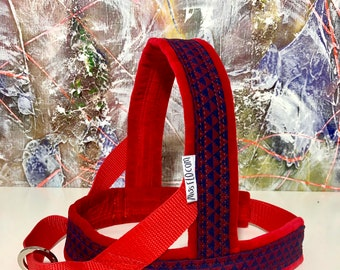 Special listing for Nico, Dog Harness red and navy geometric pattern, MissFlo, Handmade. Washable, easy on and off