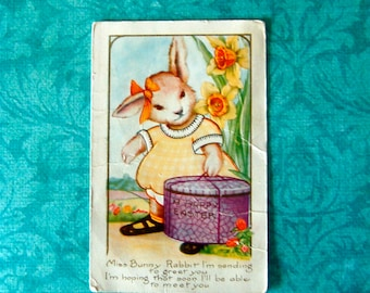 Vintage Girl Easter Bunny & Hat Box ,  Postcard. Embossed, Not Posted