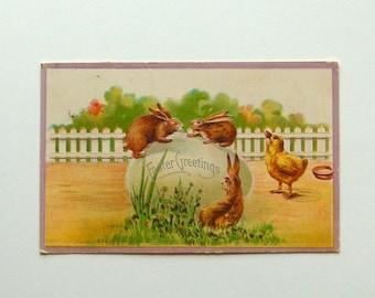 Vintage Easter Bunnies & Giant Egg Postcard. Embossed, Silver Details