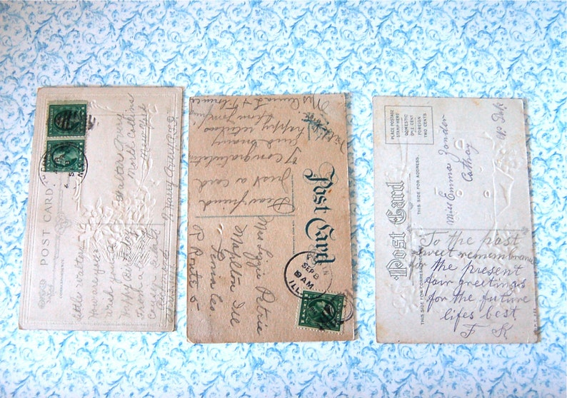 3 Vintage Post Cards Violets Butterfly Pansies Cottage Birthday /& Greetings