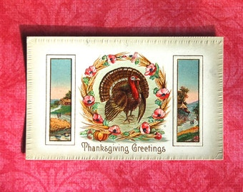 Vintage Thanksgiving Turkey & Wreath Postcard Embossed