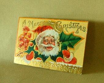 Vintage Saint Nicholas Christmas Postcard. Embossed & Gold