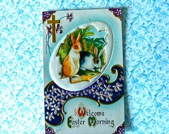 "Vintage Easter Bunnies & Violets. ""Welcome Easter Morning"" Postcard, Embossed, Gold Details, Un-Posted"
