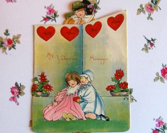 Vintage Valentine Card, Flirting Couple, Die Cut Easel Style