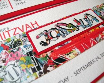 Graffiti Sports Bar Mitzvah Invitation