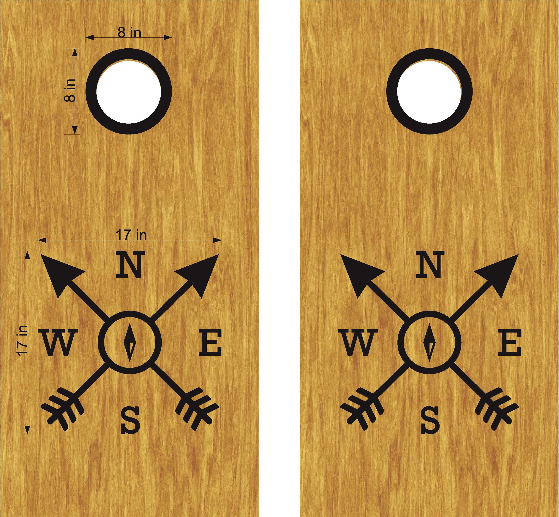 Compass and Initial Custom Cornhole Board Set