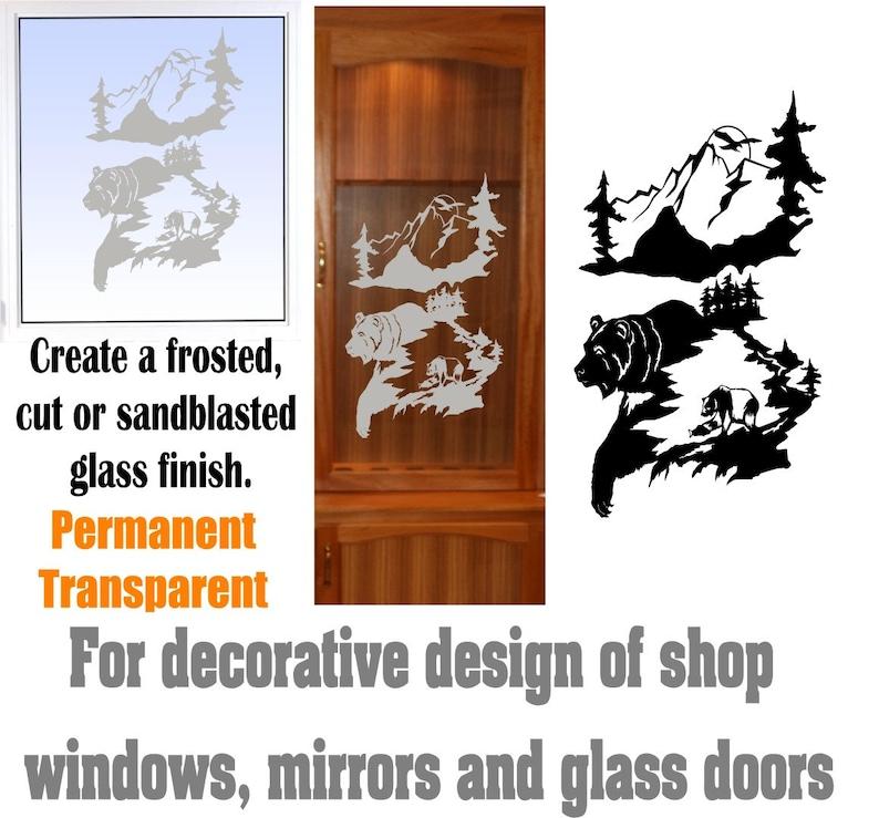 Bear Mountainu0027s DIY Etched Glass Vinyl Gun Cabinet Window Front Door GC05B