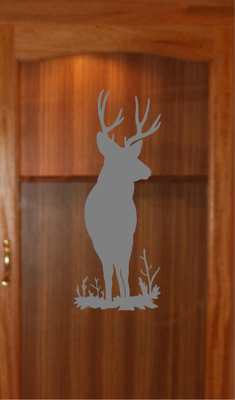 Deer Buck Hunting Etched Glass Decal Gun Cabinet Window Film Front Door  GC02B