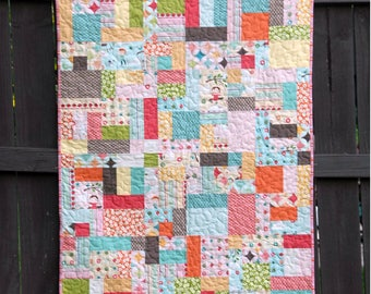 Scrappy Tiles - Digital pdf Quilt Pattern - Layer Cake and Scrap Friendly - Baby and Lap Sizes