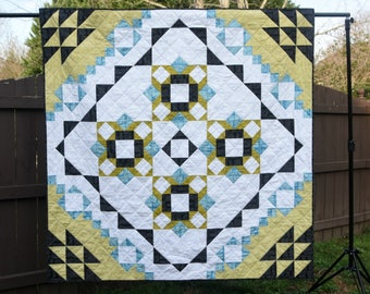 Meadow Mystery Quilt - a Digital pdf Quilt Pattern - a Modern Mystery Quilt in a Lap Size