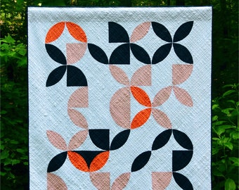 Disappearing Oranges - digital quilt pattern - a modern pattern - curved piecing - lap size