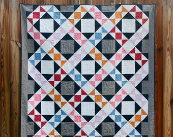 English Trellis Quilt - a Digital pdf Quilt Pattern - Fat Quarter Friendly in Baby, Lap, Twin, and King Sizes