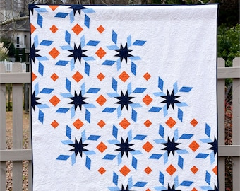 Spinning Stars - digital quilt pattern - a modern pattern - paper pieced pattern - baby and lap sizes