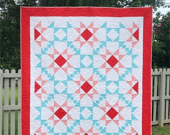 Mosaic Mystery Quilt - a Digital pdf Quilt Pattern - a Modern Mystery Quilt in a Lap and Queen Sizes