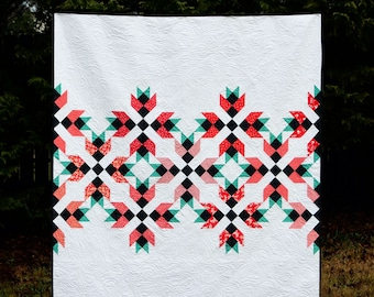 Magnolia Mystery Quilt - a Digital pdf Quilt Pattern - a Modern Mystery Quilt in a Lap and Queen Sizes