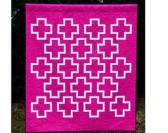 Chalk - digital quilt pattern - a modern plus sign quilt pattern - lap / throw size